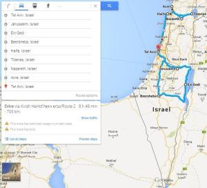 Mapa Izraela z zaznaczoną trasą naszej podróży