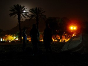 Pole namiotowe w Ein Gedi nad Morzem Martwym i niedaleko Masady